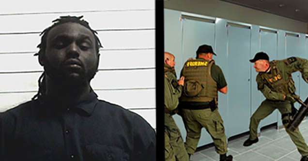 Arthur Posey mugshot. Cops raiding bathroom stall.