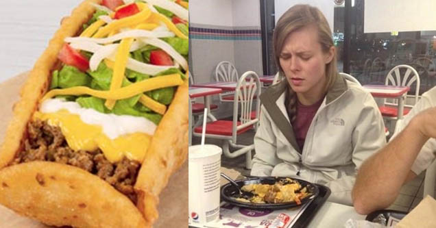 chalupa. woman not happy about taco bell.