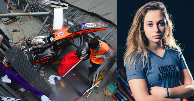 an orange formula one car after a bad wreck at 170 mph and a photo of 17 year old driver sophia floersch