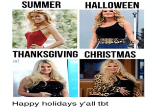 jessica simpson at different weights that represent summer halloween thanksgiving christmas