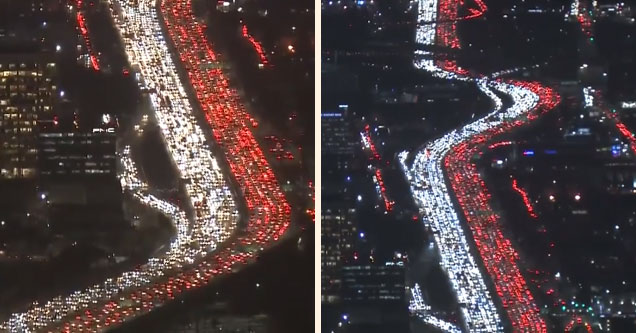 a heavily gridlocked 405 freeway in los angeles california during thanksgiving 2018