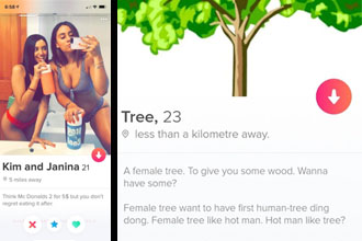 Two girls on tinder and a tree looking for a man.