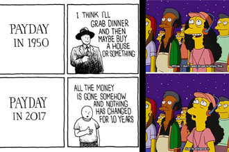 A comic about a payday and a simpsons meme.