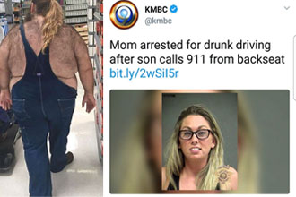 A man with a hairy back and a woman arrested for drunk driving.