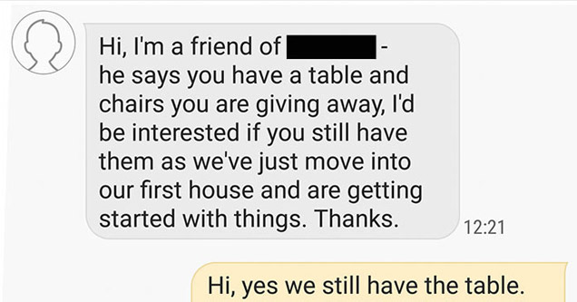 a text message between two people discussing a free table in the want ads