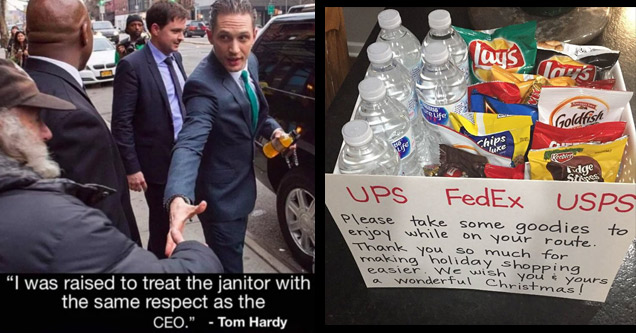 tom hardy shaking a janitors hands with text about respecting everyone and a box full of water and snacks for delivery drivers working the holidays