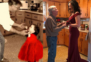 a father in white shirt and jeans dances with his toddler daughter in a red dress and a photo of them recreating the photo 30 years later