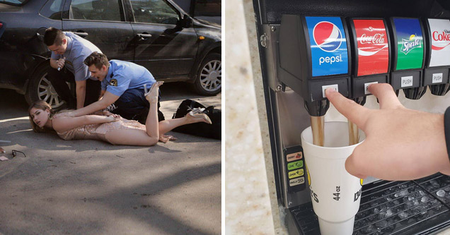 two police officers are arresting a woman in a miniskirt and high heels and somone getting coke and pepsi in the same cup