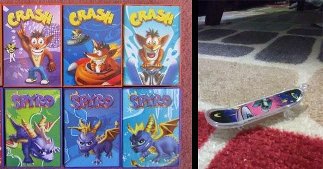crash bandicoot and spyro cards and finger skateboards.