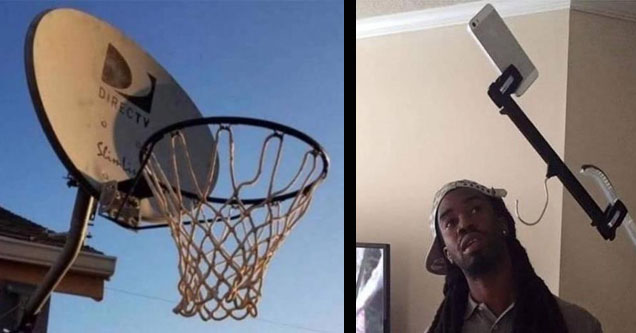a basketball hoop made from a satellite and a guy who made a selfie stick out of hangers.