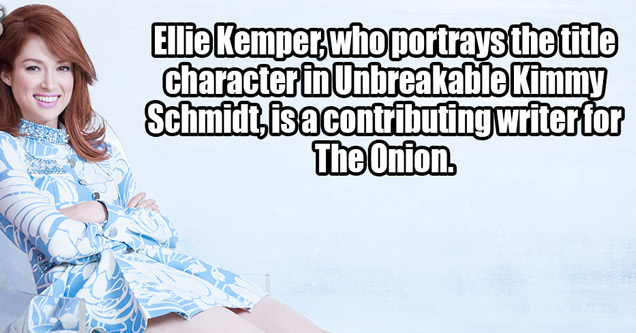 a photo of ellie kemper in a blue and white dress with text about her writing for the onion