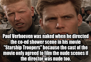 a photo of two of the main characters in starship troopers with text about the director agreeing to being naked while filming nude scenes
