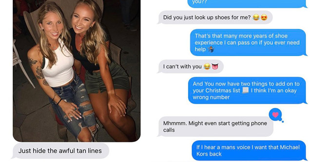 a photo of two very sexy tan blonde girls and a screenshot of the text conversation