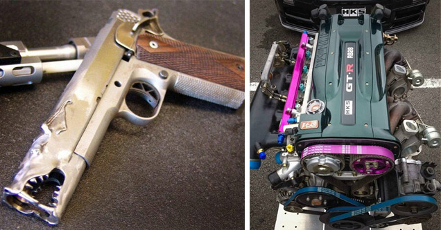 a silver gun with wood grain handle and the barrel is shaped like a dragon and an engine with purple belts and parts