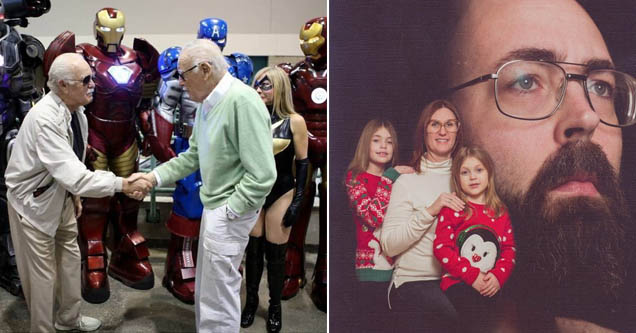 a man dressed as stan lee meeting the real stan lee