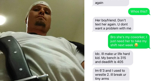 a man looking down at the camera with a knife in his belt and a text message conversation with an obsessive and controlling boyfriend