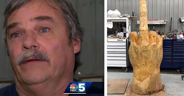 Ted Pelkey with his middle finger statue.