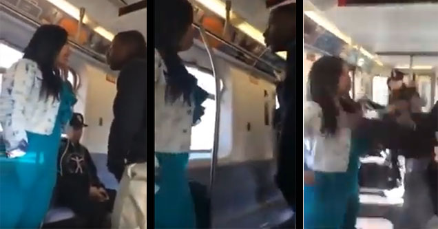 A guy fighting a woman on a train.