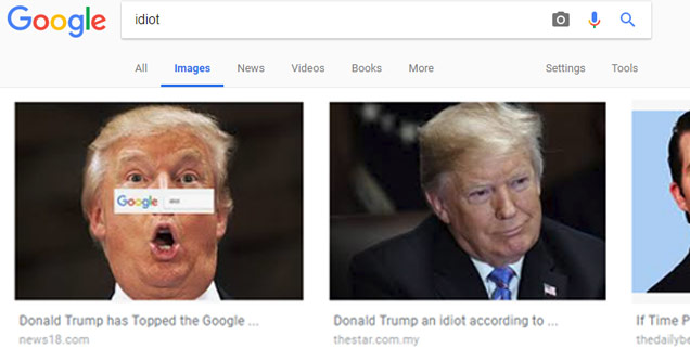 a screenshot of a google search result for idiot and the images returned are of donald j trump