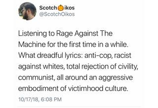 Tweet where guy is talking about Rage Against The Machine Lyrics