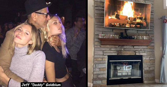 actor jeff goldblum with two young hot girls and his hands around one of their necks and a fireplace that is empty and a tv with a video of a fireplace