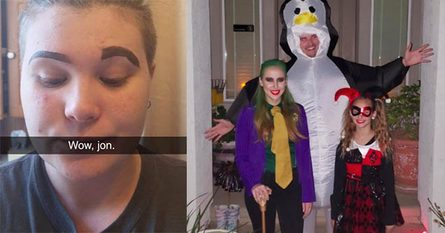 jon messing up eyebrows. Halloween with joker harley quinn and a real penguin.