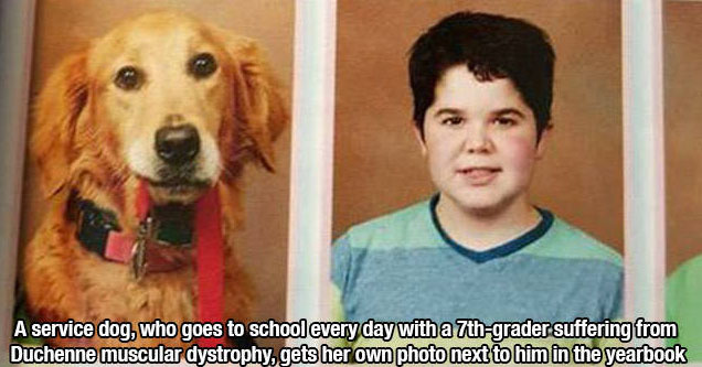 A boy with his dog.