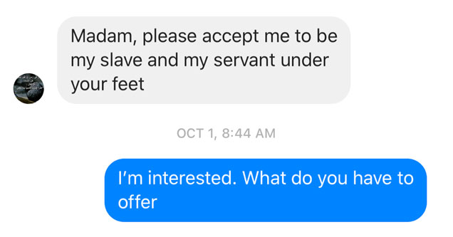 a screenshot of a text message conversation with a man asking about her feet