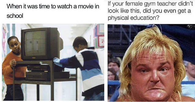 Kids pulling tv into classroom. Wrestler who looks like a female gym teaceher. 90s meme.