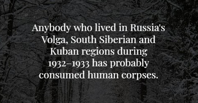 Dark background white text. People living in kuban regions ate humans.