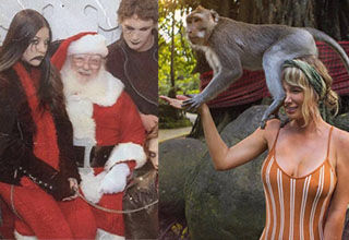 a goth family sitting on santas lap and a lady with a monkey sitting on her face