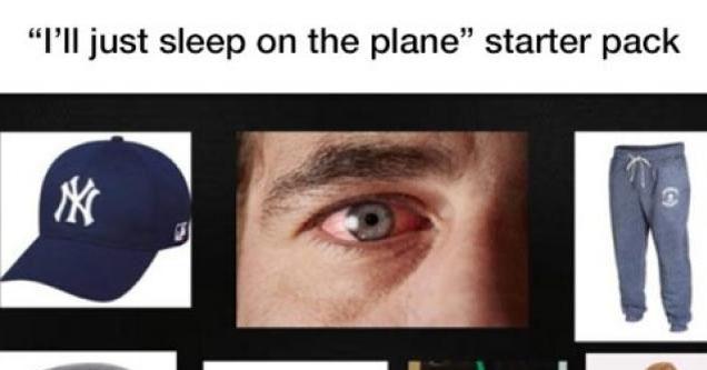 Starter pack of people who sleep on planes.