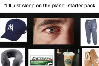 Starter pack of people who sleep on planes.