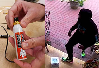 a man opening a bottle of fart spray, and another guy stepping onto a porch