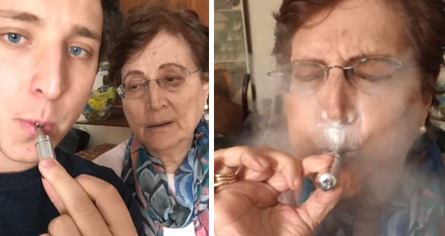 a young man blowing on a metal whistle and his grandmother attempting it and blowing powder into her face