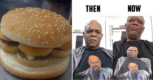 Burger with sliders as meat. Samuel L Jackson with shirt of himself 3 times.