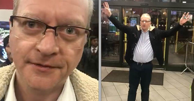 A man is ranting about immigrants and feminists while standing inside of a McDonald's in London, England in 2019.