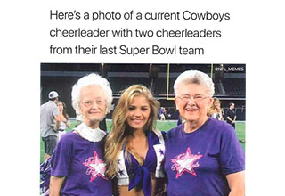 three women, two former cowboys cheerleaders and one current