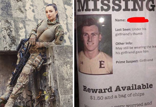 a three way photo of a woman in army sniper gear and a wanted poster for a friend