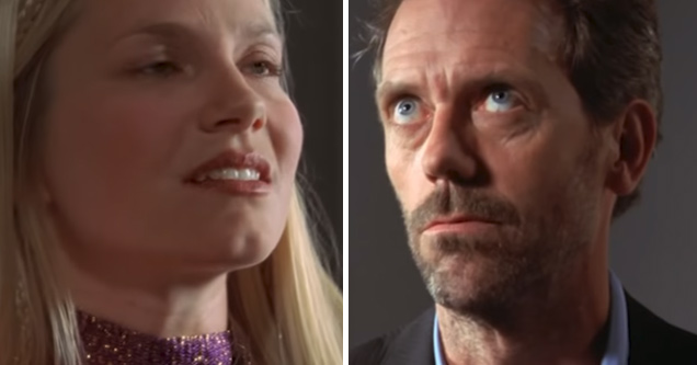 a blonde haired young woman and dr house rolling his eyes