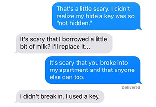 a text exchange with an angry neighbor and a man flicking the camera off