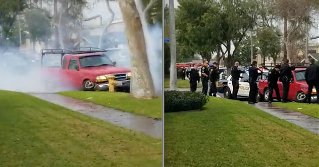 A red pickup truck is smoking after crashing into a fire hydrant in Anaheim, California in 2019. On the right, a group of police officers point their guns at the driver of a red pickup truck that crashed into a palm tree in Anaheim, California in 219.