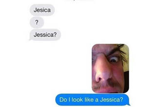 a man looking weird after someone tried to text jessica