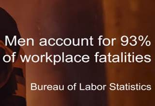 an orange background with text about men accounting for 93% of workplace fatalities
