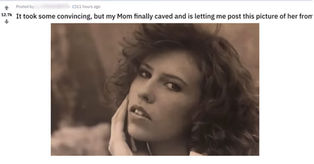 a photo of a woman from the 80s with text asking users if his mom is hot