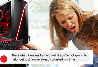 a mom yelling at a kid next to a new gaming computer