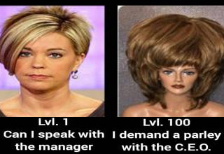 a meme with a blonde haired woman with a speak to the manager haircut level 1 versus 100 blonde wig