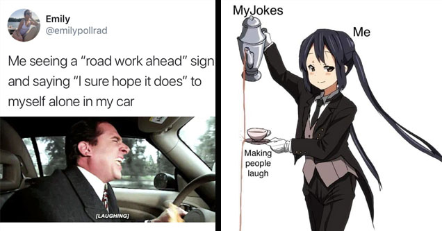 A meme about laughing in the car and a meme about someone missing a joke.