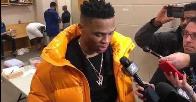 Russell Westbrook being interviewed.