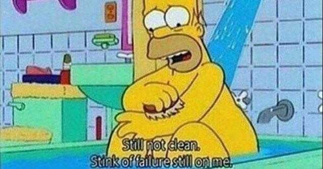 Homer Simpson taking a bath.